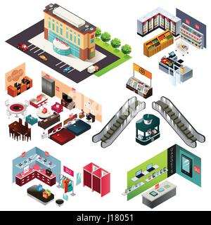 A vector illustration of Shopping Mall Isometric - Stock Photo