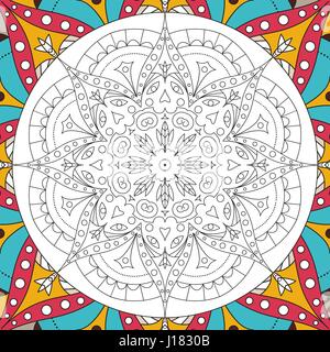 Printable antistress coloring book page for adults - mandala design, activity to older children and relax adult. - Stock Photo