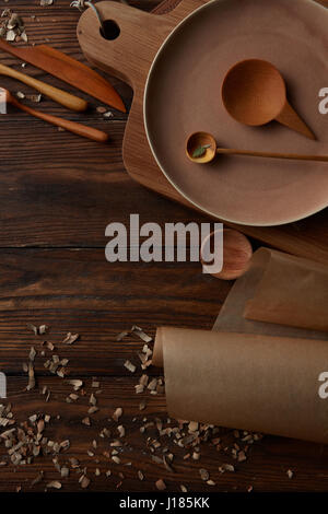 Composition of kitchen devices on wooden table - Stock Photo