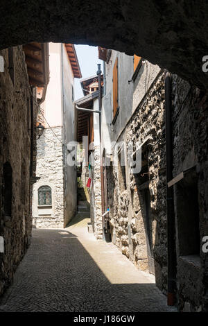 Riva di Solto (Bergamo, Lombardy, Italy), historic village along the lake of Iseo - Stock Photo