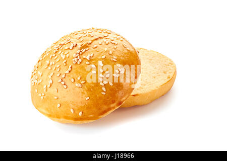 Sliced homemade burger bun on white - Stock Photo