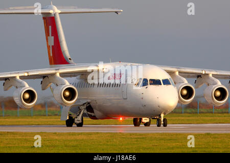 PRAGUE, CZECH REPUBLIC - NOVEMBER 2, 2012: Swiss airlines Bae-146 taxiing at Ruzyine airport. - Stock Photo