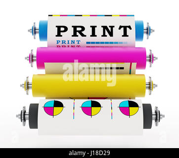 CMYK Printing press with test print. 3D illustration. - Stock Photo