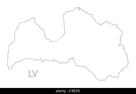 Latvia Outline Silhouette Map Illustration With Regions Stock - Latvia map outline