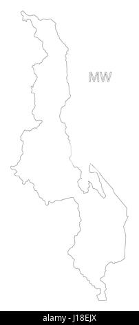 Malawi Outline Silhouette Map Illustration With Regions Stock - Malawi blank map
