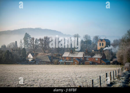 The village of Fingest from the East on a foggy, frosty, winter's morning, - Stock Photo