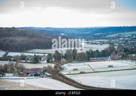 Hambleden Valley, covered in a light dusting of snow, viewed from the North looking towards the Thames Valley - Stock Photo