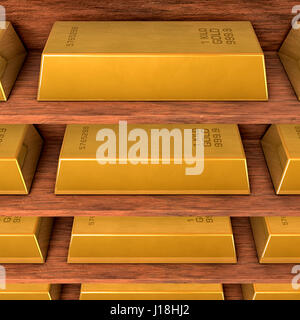 Shelves with gold - Stock Photo