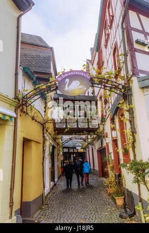 Bernkastel-Kues, Germany - November 01, 2016: picturesque side street with unidentified people. Bernkastel-Kues - Stock Photo