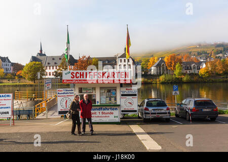 Bernkastel-Kues, Germany - November 01, 2016: excursion ship pier at the Moselle with unidentified people. Bernkastel - Stock Photo