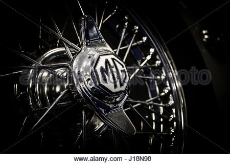 Chrome wire wheel with MG logo knock on hub - Stock Photo