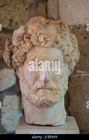 greek sculpture marble bust of roman emperor hadrian - Stock Photo