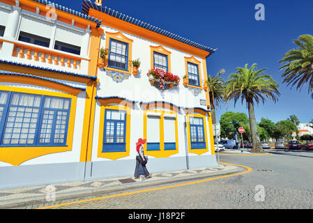 Colorful House portuguese style colorful house in taipa macau china stock photo
