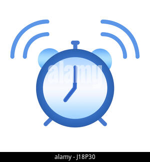 Illustration of an isolated over white background blue alarm clock, ringing at 7 o'clock - Stock Photo
