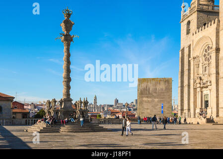 Porto Cathedral Portugal, the grand terrace at the south end of Porto Cathedral, known as the Se, Oporto, Portugal, - Stock Photo