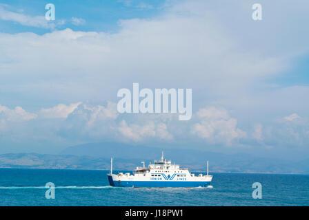 Ionian lines ferry, to Igoumenitsa, in front of Corfu town, Kerkyra, Corfu Island, Ionian islands, Greece - Stock Photo