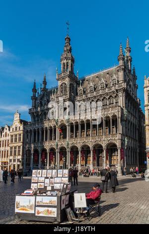 Maison du Roi building, Grand Place, Brussels, Belgium - Stock Photo