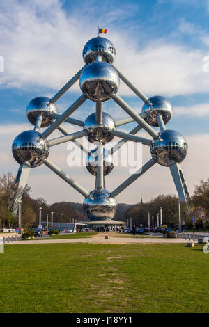 Atomium building originally constructed for Expo 58, Brussels, Belgium - Stock Photo