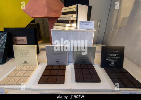 Chocolate on sale at Pierre Marcolini chocolaterie, Galeries St-Hubert, Brussels, Belgium - Stock Photo
