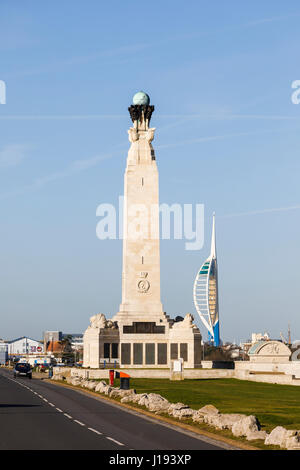 Landscape: Portsmouth Naval Memorial on the seafront promenade in Southsea and the Emirates Spinnaker Tower, Portsmouth, - Stock Photo