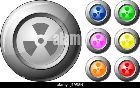 Sphere button radiation sign set on a white background. Vector illustration. - Stock Photo