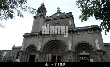 Entrance or front of the Minor Basilica and Metropolitan Cathedral of the Immaculate Conception, informally known - Stock Photo