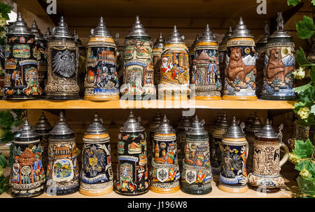 Traditional German beer steins in a shop in the Black Forest - Stock Photo