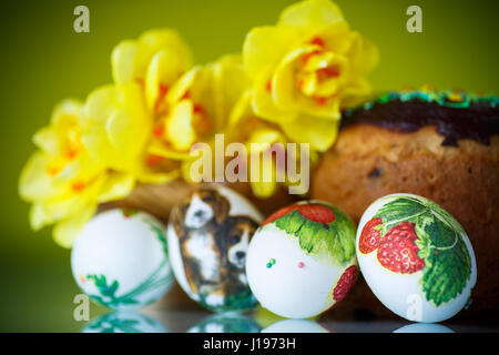 Easter cake with eggs - Stock Photo