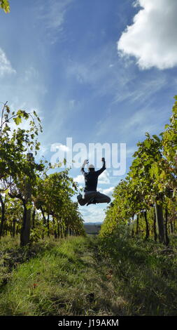 A man jump between the colors of the nature - Stock Photo