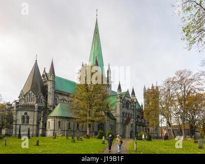 Nidaros Cathedral, or Nidasrosdomen, in Trondheim, is built on the burial site of Saint Olav, patron saint of Norway. - Stock Photo