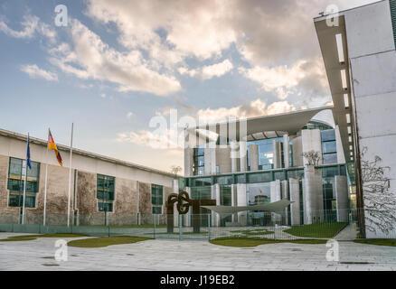 Exterior of the Bundeskanzleramt building of Berlin, Germany   Bundeskanzleramt Gebaeude im Regierungsviertel von - Stock Photo