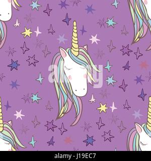 Unicorn Rainbow seamless pattern - girls scrapbook paper. Perfect for wrapping presents, scrapbook pages, cards, - Stock Photo