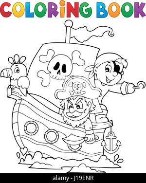 Coloring Book Pirate Boat Theme 1 Stock Photo 169920041 Alamy