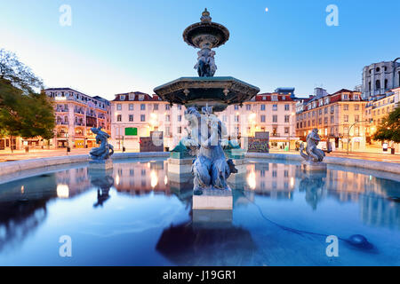 Lisbon, Portugal at Rossio Square - Stock Photo