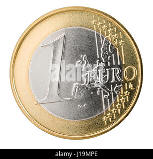 one euro coin isolated on white background finance currency symbol - Stock Photo