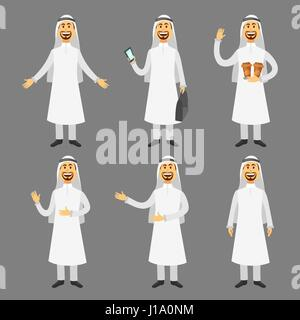 Cartoon images set of arab man in traditional arabic clothing isolated vector illustration - Stock Photo