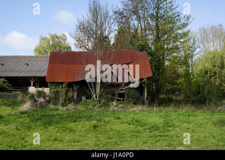 Derelict barn, Normandy, France - Stock Photo
