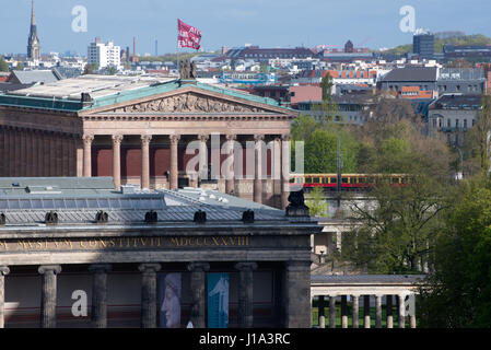 Lustgarten Berlin with  Alte Nationalgalerie, Old National Gallery and old museum on the Museum Island, Berlin-Mitte - Stock Photo