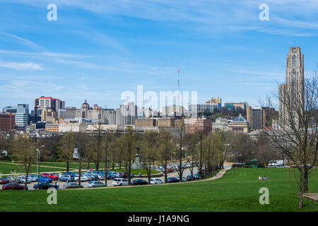 Skyline of Pittsburgh, Pennsylvania from Schenley Park - Stock Photo