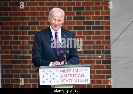 Philadelphia, Pennsylvania, USA. 19th Apr, 2017. JOE BIDEN, keynote speaker at the grand opening of the Museum of - Stock Photo