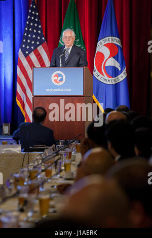 Washington, USA. 19th April, 2017.  US Secretary of State, Rex Tillerson, speaks at the US-Saudi Arabia CEO Summit. - Stock Photo