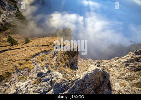 A young woman does mountain running or a trail run at the beautiful Nockstein mountain in Salzburg, Austria. - Stock Photo