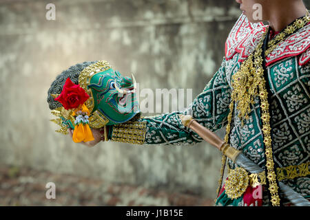 Kumbhakarna and Hanuman Art culture Thailand Dancing in masked khon in literature Ramayana of asia. - Stock Photo