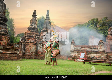 Tos-Sa-Kan  and Sida are characters in Thai literature on Ramayana. - Stock Photo