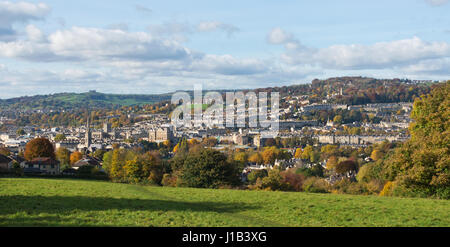 a colourful autumnal view across the city of Bath, Somerset, England, UK on a sunny day from an elevated position - Stock Photo
