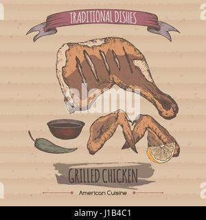 Color vintage grilled chicken template placed on cadboard background. - Stock Photo