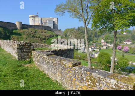 Castle of William the Conqueror of Falaise, a commune in the Calvados department in the Basse-Normandie region in - Stock Photo