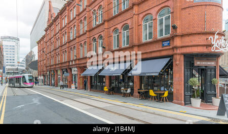 The Guildhall building and tram in Birmingham City Centre - Stock Photo
