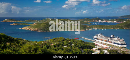 View of Charlotte Amalie Harbor from Paradise Point, St Thomas, US Virgin Islands - Stock Photo
