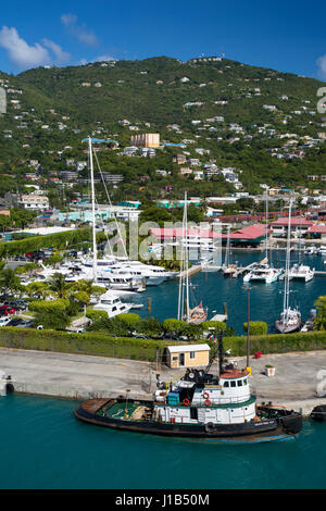 Tugboat and marina in Charlotte Amalie Harbor, St Thomas, US Virgin Islands - Stock Photo